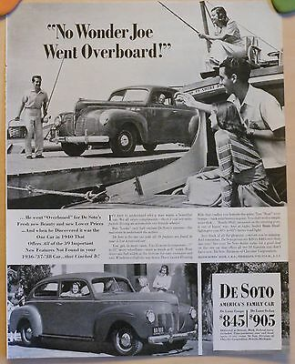 Vintage 1940 ad for DeSoto autos - large photo of new DeSoto and Fishermen
