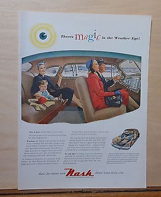 1947 magazine ad for Nash - Magic in the Weather Eye, interior of Nash
