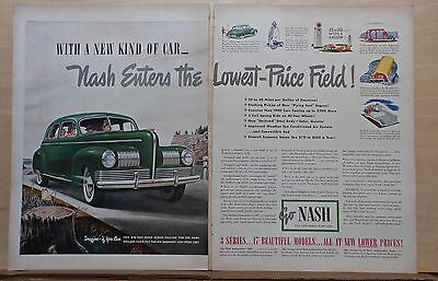 1940 two page magazine ad for Nash - 1941 green Sedan, New Kind of Car