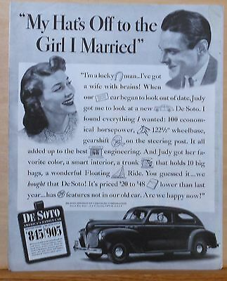 1940 magazine ad for De Soto - I've Got A Wife with Brains, she picked De Soto