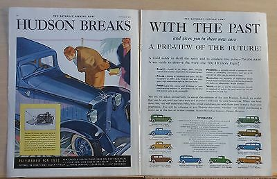 1932 two page magazine ad for Hudson - Breaks with the Past, 9 models pictured