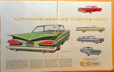 1958 two page magazine ad for Chevrolet - Impala Sport Coupe, Winging Shape