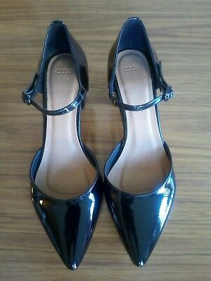 New ASOS pointy block heel black patent Mary Jane shoes size 9