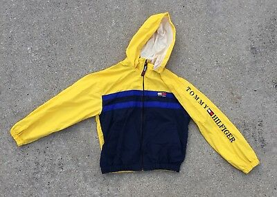 Rare Vintage Tommy Hilfiger Spell Out Jacket Size Large Kids With Hood and Patch