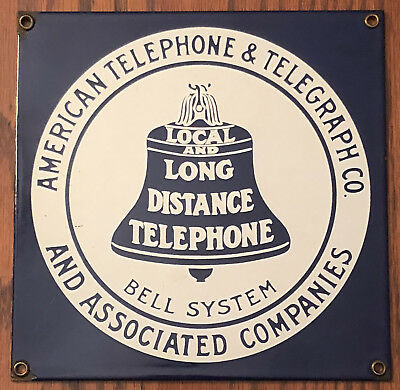 VINTAGE ANDE ROONEY AMERICAN TELEPHONE & TELEGRAPH CO BELL SYSTEM Porcelain Sign