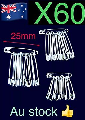 60x 25mm Small Metal Safety Pin Craft Sewing Home Clothing 🇦🇺🇦🇺🇦🇺