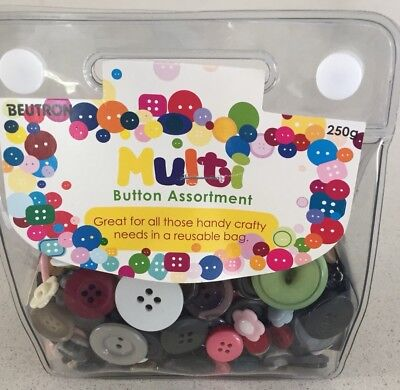 Buttons ~ Bulk ~ Mixed Lot ~ 250gms - 200+ pieces sewing craft ~ NEW