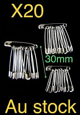 20x Safety Pins 30mm Silver Tone Metal, Craft, Sewing 🇦🇺🇦🇺🇦🇺