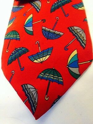 Vtg Hilditch & Key Jermyn St, London Saks Fifth Ave. Umbrellas/Red Silk Neck Tie