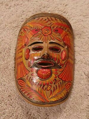 Vintage Hand-painted Mexican Folk Art Clay Pottery Mask