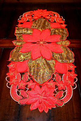 Amazing red gold new Christmas Xmas tablecloth table runner napkin oval