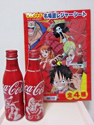 Coca Cola slim bottle one piece Aluminum Full 2 bottle +Picnic sheet From Japan