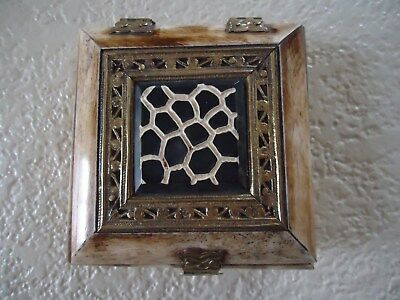 """Trinket Box Camel Bone Made In India Brass Owl Hinges Open Top Chest 4"""" x 4"""""""