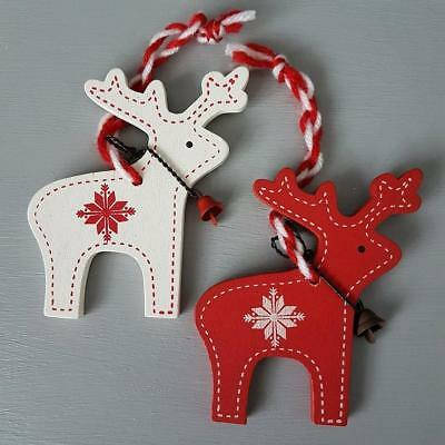 Set Of 2 Red & Cream Wooden Hanging Reindeer With Bells Christmas  Decorations