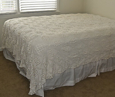 Vintage Hand Crafted Crochet Coverlet 91x87