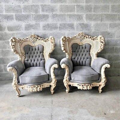 Antique Set Of Two Chairs On Italian Rococo Style