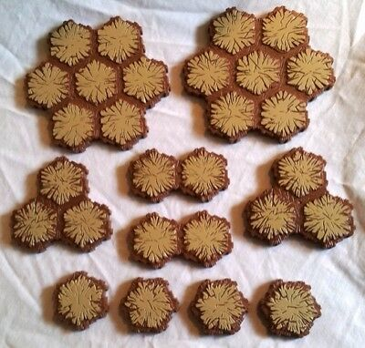 HEROSCAPE Lot of 10 Sand Tiles for Parts Extensions 28 hexes total 7 3 2 1