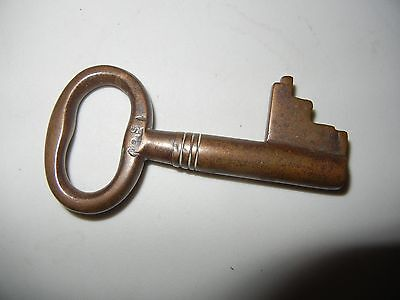 "Vintage Antique Large Heavy Brass Hollow Barrel KEY Marked No. S - 3""long"