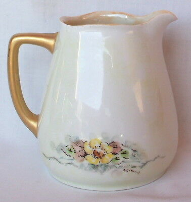 Antique Hermann Ohme Silesia Germany Hand Painted Floral Creamer Artist Signed