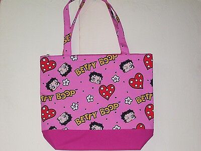 Betty Boop Face and Hearts Tote Carry Bag With Small Pouch Wallet Brand New