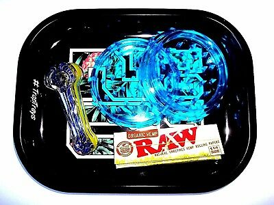 Collectible Glass Hand Smoking Tobacco Pipe Bundle - Raw  Papers, Tray, Grinder