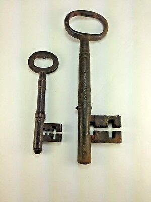 "Rare Antique Two  Skeleton Keys Cast Iron Massive 7 3/4"" & One 5""  Jail? Church?"