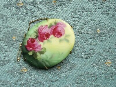 Old Vintage Antique French Porcelain Oval Hand Painted Rose Plaque Brooch c.1890