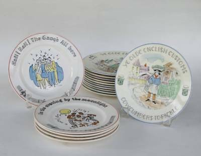 11 YE OLDE ENGLISH CUSTOMS Plates Staffordshire & 5 Fondeville SONGS Plates