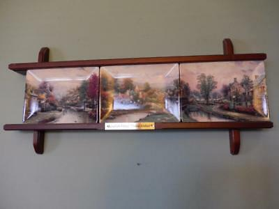 """THOMAS KINKADE """"Lamplight Village"""" Collector Plates with wooden display frame"""