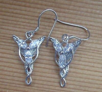STERLING SILVER LORD OF THE RINGS ARWEN EVENSTAR EARRINGS  20mm x 15mm
