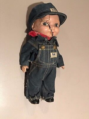 Original Buddy Lee Doll: Nice Overalls with Lee Union Made Jeans Hat <As Found>
