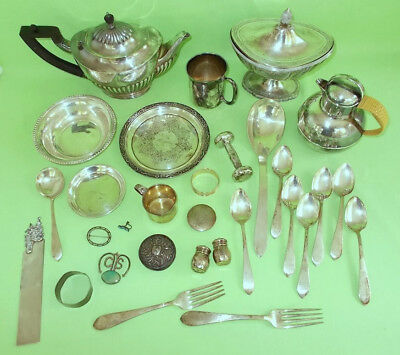 JUNK LOT OLD FAMILY STERLING SILVER tea pot spoons baby items etc.