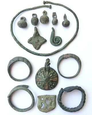 Viking ancient 14 artifacts bracelet amulets pendants rings 8-10 century AD