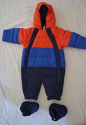 M&S Baby All-in-One snowsuit age 3-6 months red/royal/navy BNWOT hooded