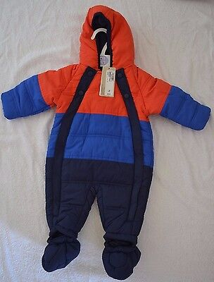 M&S Baby All-in-One snowsuit age 3-6 months red/royal/navy BNWT hooded