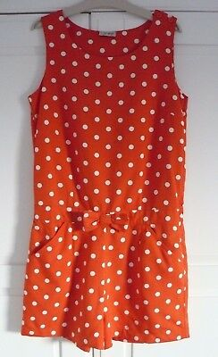 Next Girls Playsuit Age 13 Years Red Orange Spotty Shorts All in 1 Polka Dot