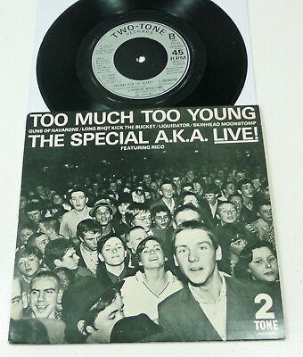 """Special A.K.A. """"Too Much Too Young"""" UK EX/EX 1980 LIVE 7"""" EP 2-TONE Ska Revival"""