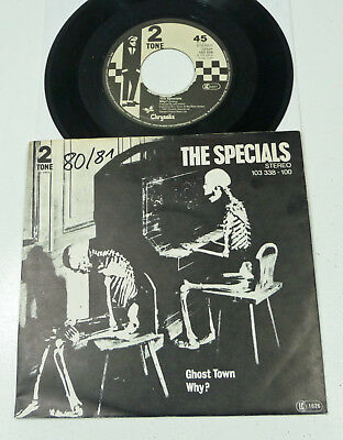 """SPECIALS """"Ghost Town"""" german M-/VG+ 1981 SKA Revival 2 Tone PS 45 Vinyl 80s Why?"""