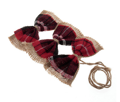Hessian & Tartan Bows Pack of 3 - Xmas Craft Idea