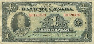 Bank Of Canada $1 1935 English Issue - Scarce Series B - King George V - Nice