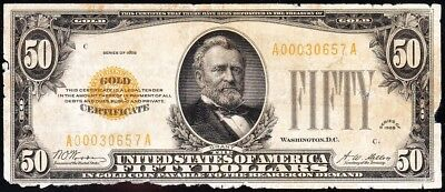 Affordable *SCARCE* 1928 $50 GOLD CERTIFICATE! FREE SHIPPING! A00030657A