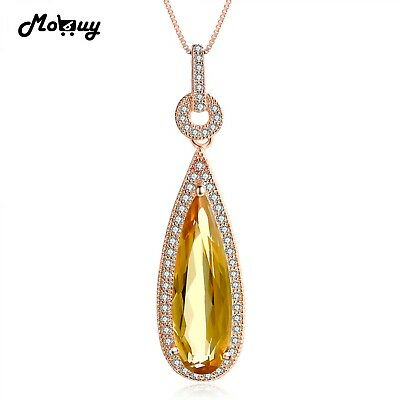 Luxury Natural Gemstone Necklace Pendant 925 Sterling Silver Rose Gold Plated