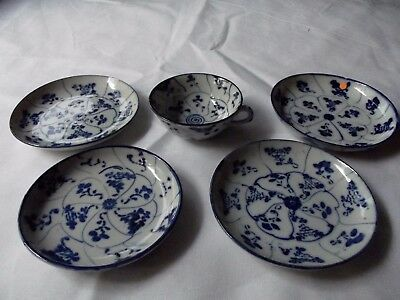 5 pc. Cups /Saucers blue & white c.1800 19th c. porcelain Chinese Export spiral