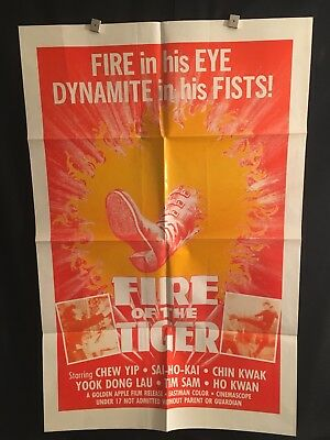 Fire Of The Tiger 1970s One Sheet Movie Poster Kung Fu Karate Martial Arts Yip
