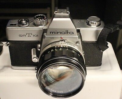 Minolta SRT101 35mm SLR Camera with 2 Lens and Case