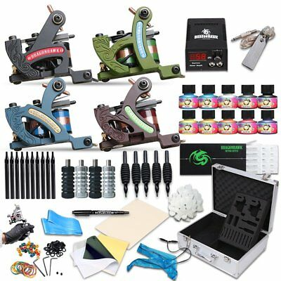 New Complete Tattoo Machine Kit 4 Guns Set Power Supply 50 Needles 10 Inks Case