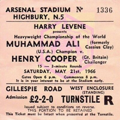 Muhammad Ali vs Henry Cooper Coaster Ticket 21st May 1966 High quality Coaster