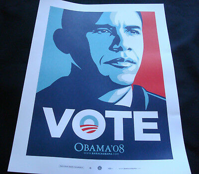 Shepard FAIREY Obey Giant OBAMA Street art small VOTE poster print  2008