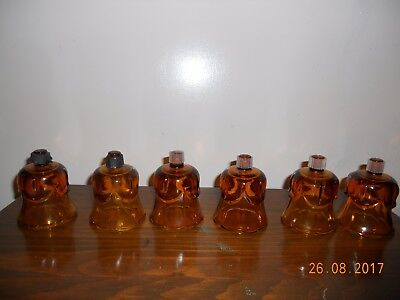 6  Vintage Homco Tulip Swag Amber Glass Peg Votive Cup Candle Holder w Grommet