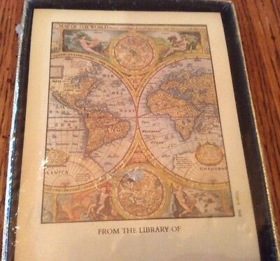 """New 30 Self Stick Bookplates Old World Global Antique Map """"From The Library Of"""""""